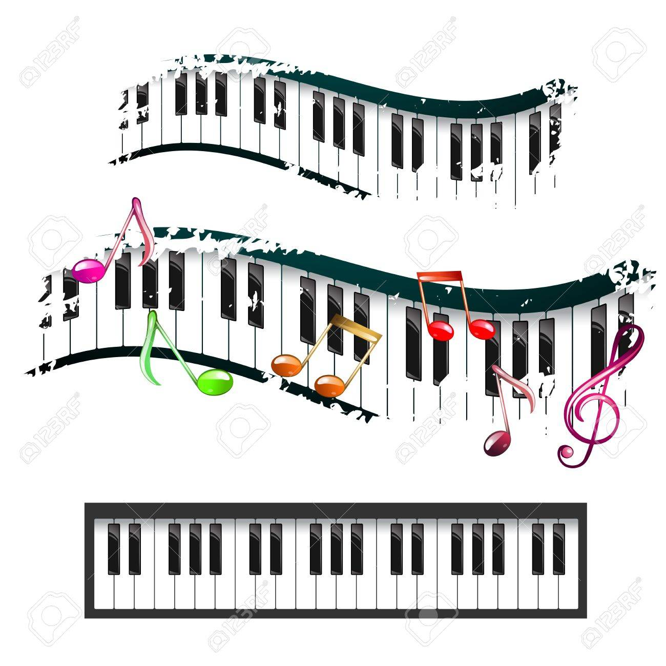 piano keyboard and music notes royalty free cliparts vectors and rh 123rf com Muscial Notes On Staff Music Notes Clip Art