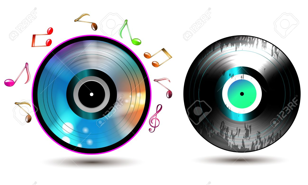 vinyl record with cd and music notes royalty free cliparts
