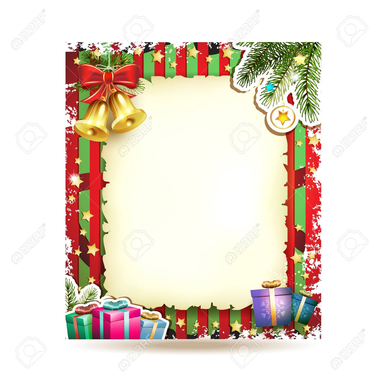 Christmas card with bell and old paper Stock Vector - 16590327