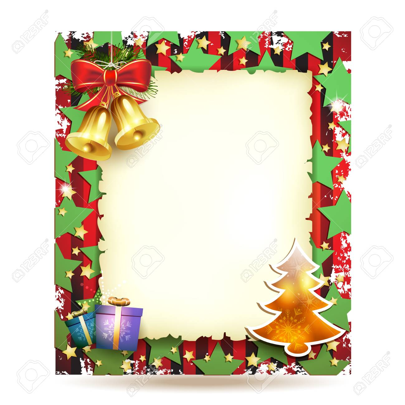 Christmas card with bell and old paper Stock Vector - 16590315