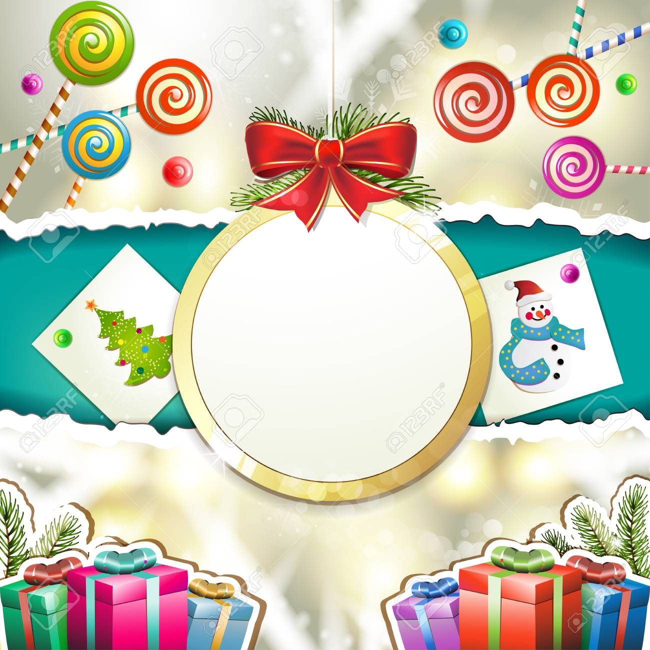 Christmas with gifts and hanging ball shape Stock Vector - 16793824