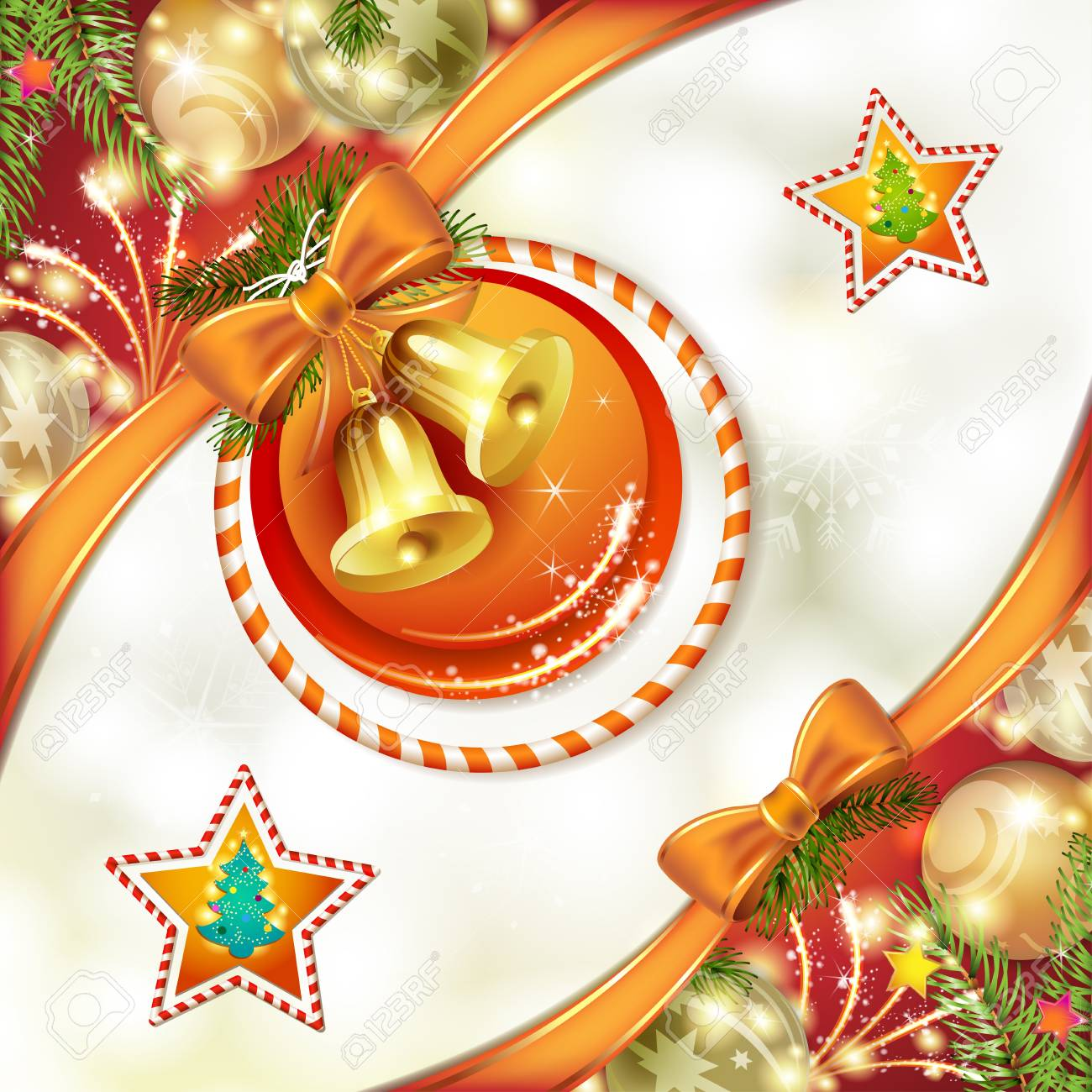 Christmas card with bells and bow Stock Vector - 17002584