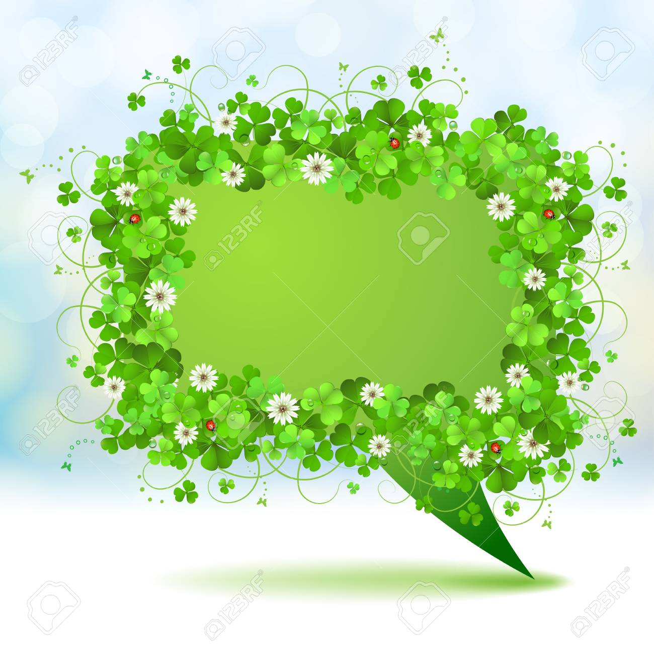 Green banner with clover Stock Vector - 18845961