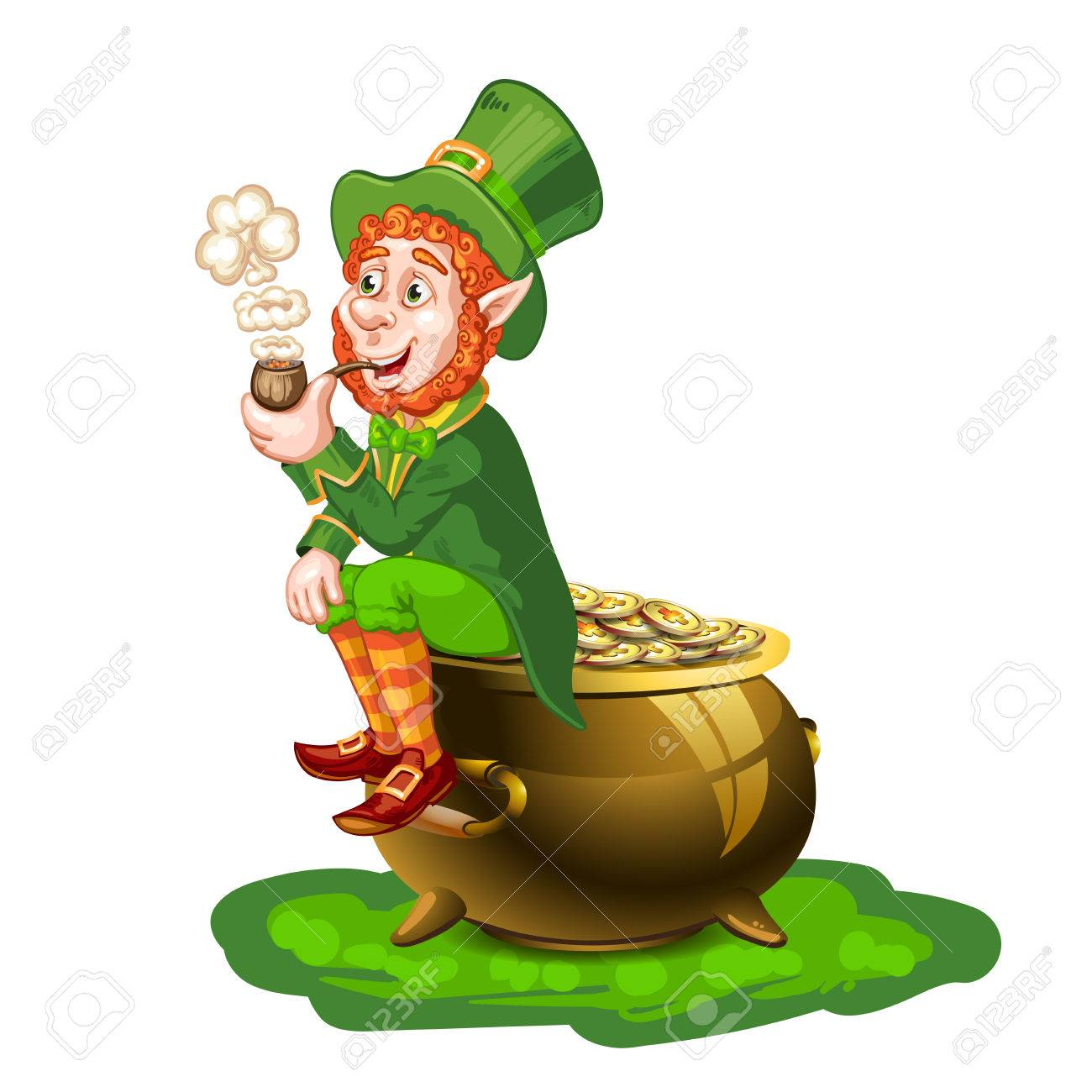 Leprechaun sitting on a pot of gold and holding a pipe royalty free leprechaun sitting on a pot of gold and holding a pipe stock vector 36442130 altavistaventures Images