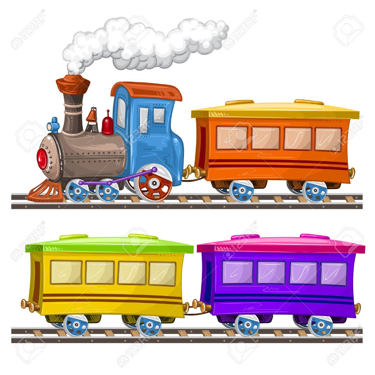 Color trains, wagons and rails - 50336169