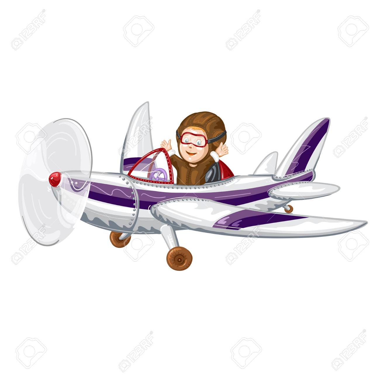 Pilot Flying The Plane In Cartoon Illustration Royalty Free