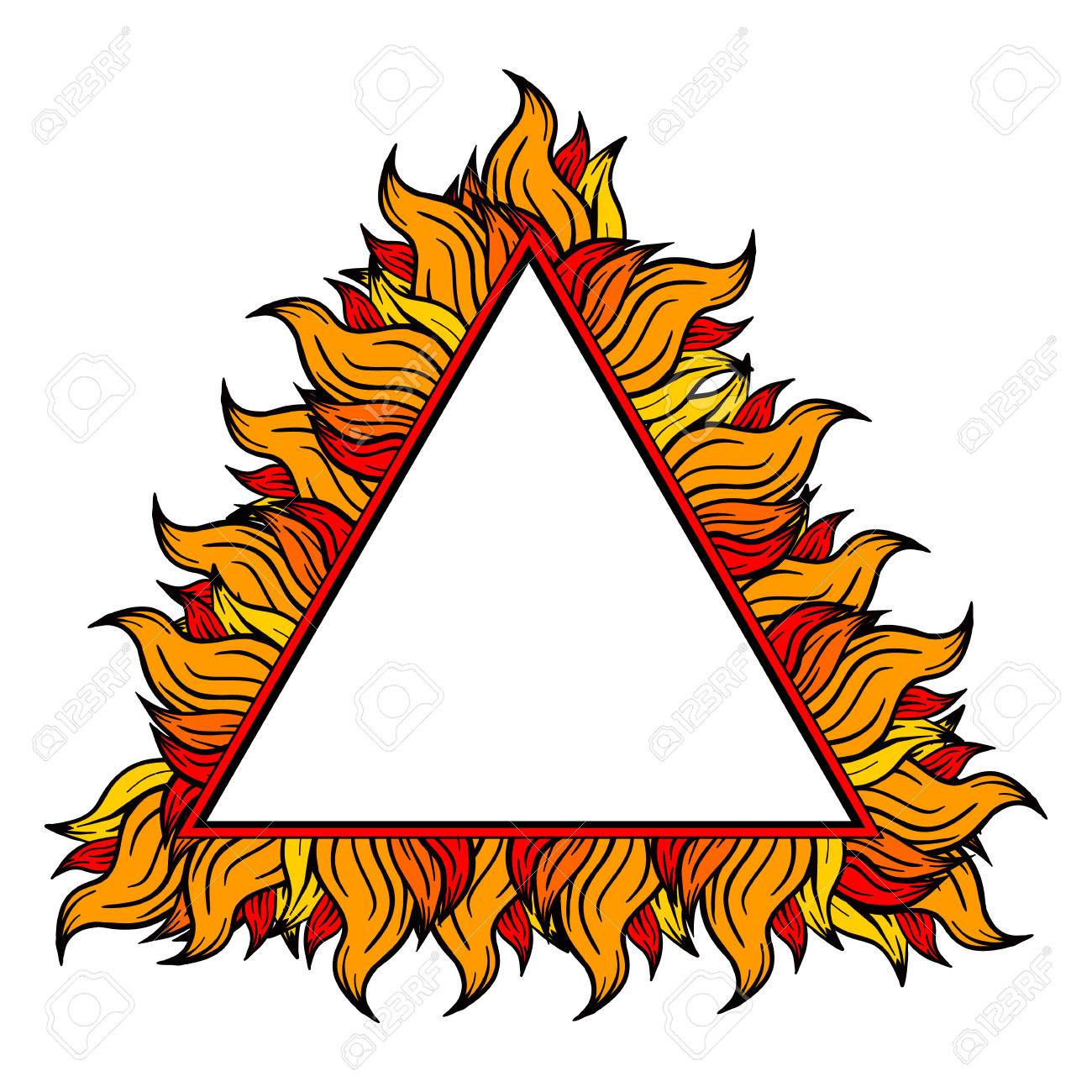 black white triangle frame with spurts of flame vector illustration rockn