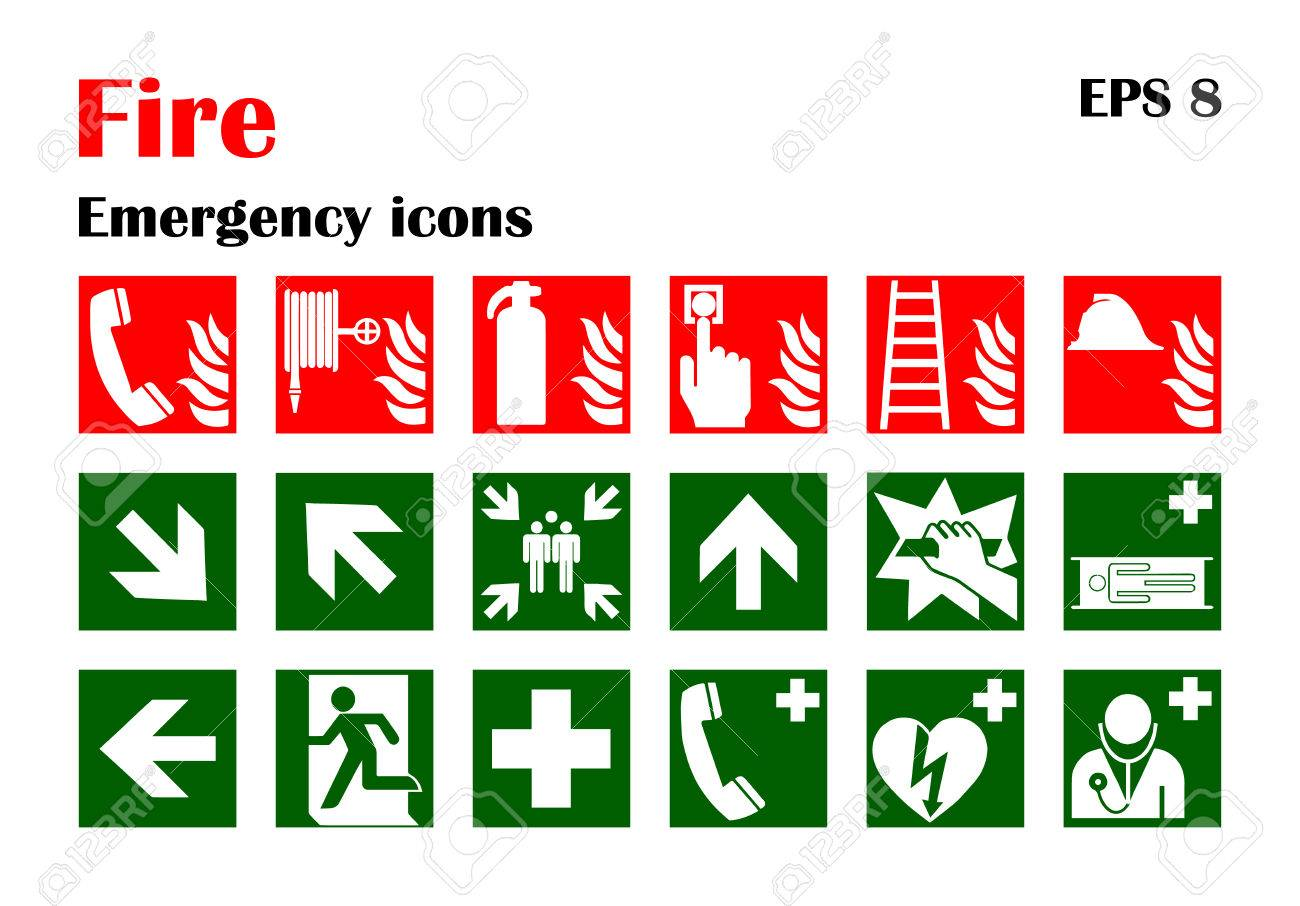 Vector fire emergency icons. Signs of evacuations. - 50897270