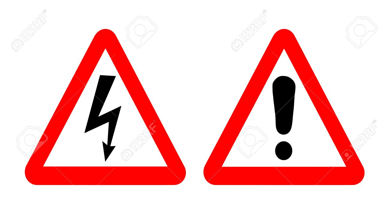 High Voltage And Warning Signs Emergency Symbols In Red Triangle