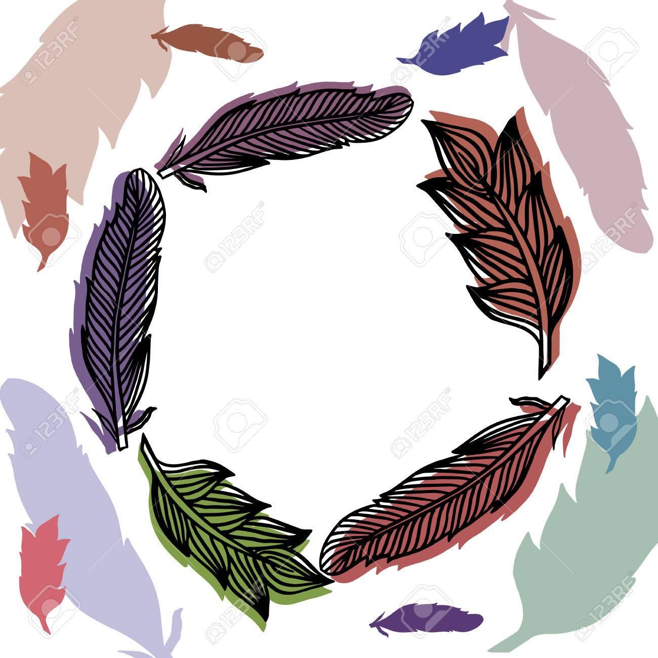Plumas Marco Con La Impresión Llena De Color. Dibujo Vectorial ...