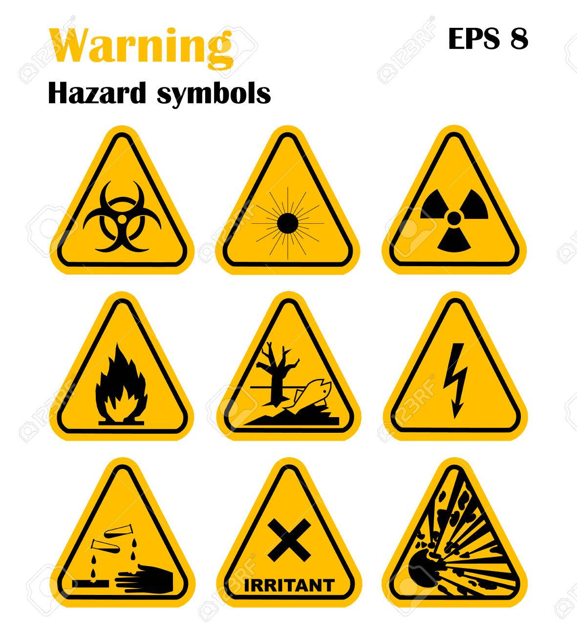 Warning hazard symbols set of vector icons high voltage toxic warning hazard symbols set of vector icons high voltage toxic caution biocorpaavc Images