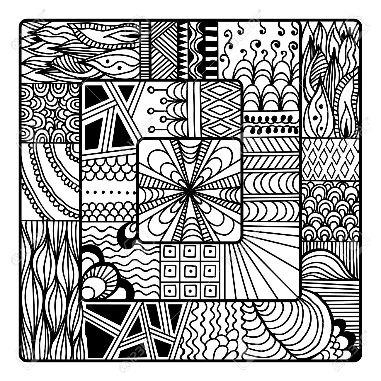 square for art coloring book zendoodle mandala design black white hand sketched - Doodle Art Coloring Book