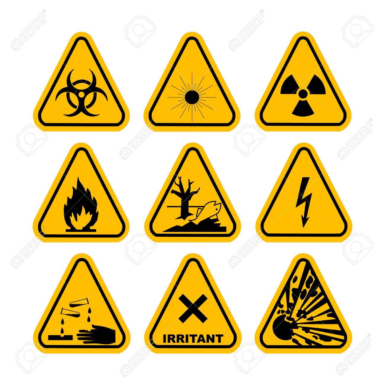 Warning Hazard Symbols Set Of Icons High Voltage Toxic Caution