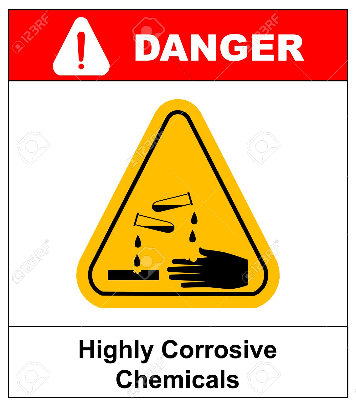 Highly Corrosive Chemicals Sign In Yellow Triangle Isolated On