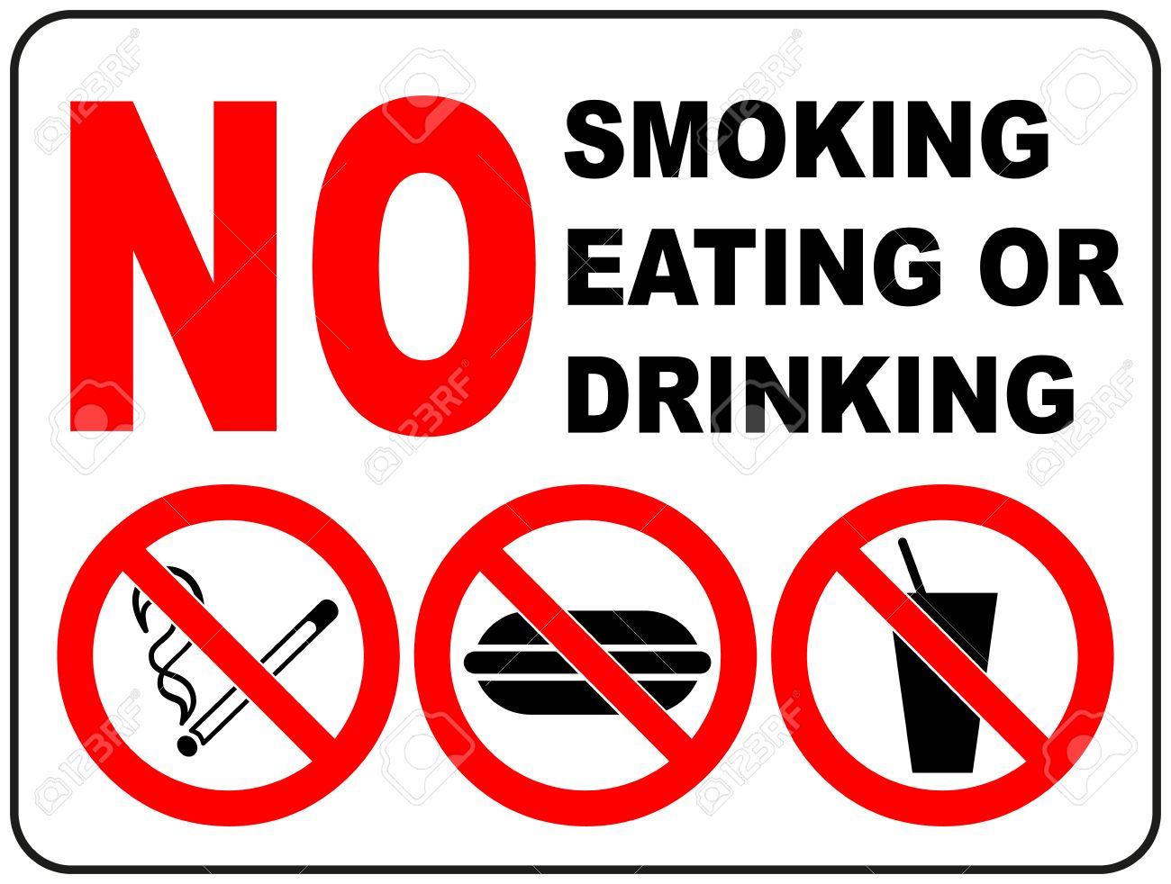 Panneaux D Interdiction Pour Fumer Manger Et Boire Autocollant