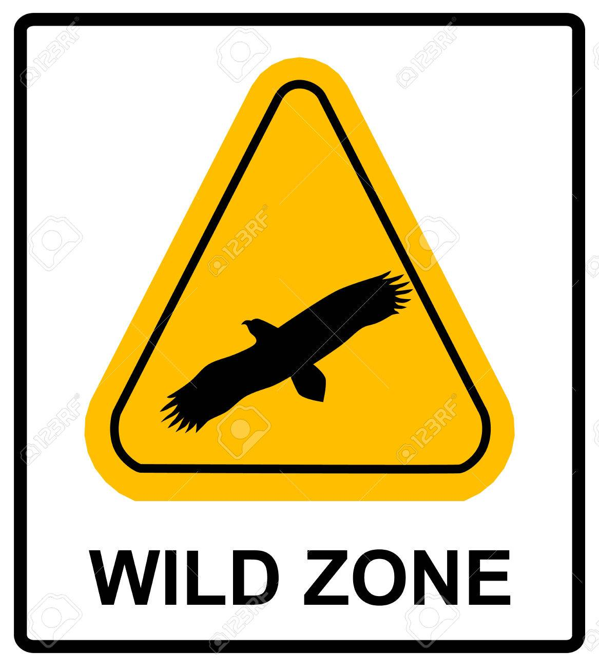 Warning Sign Danger Signal With Eagle Vector Symbol Of Bird
