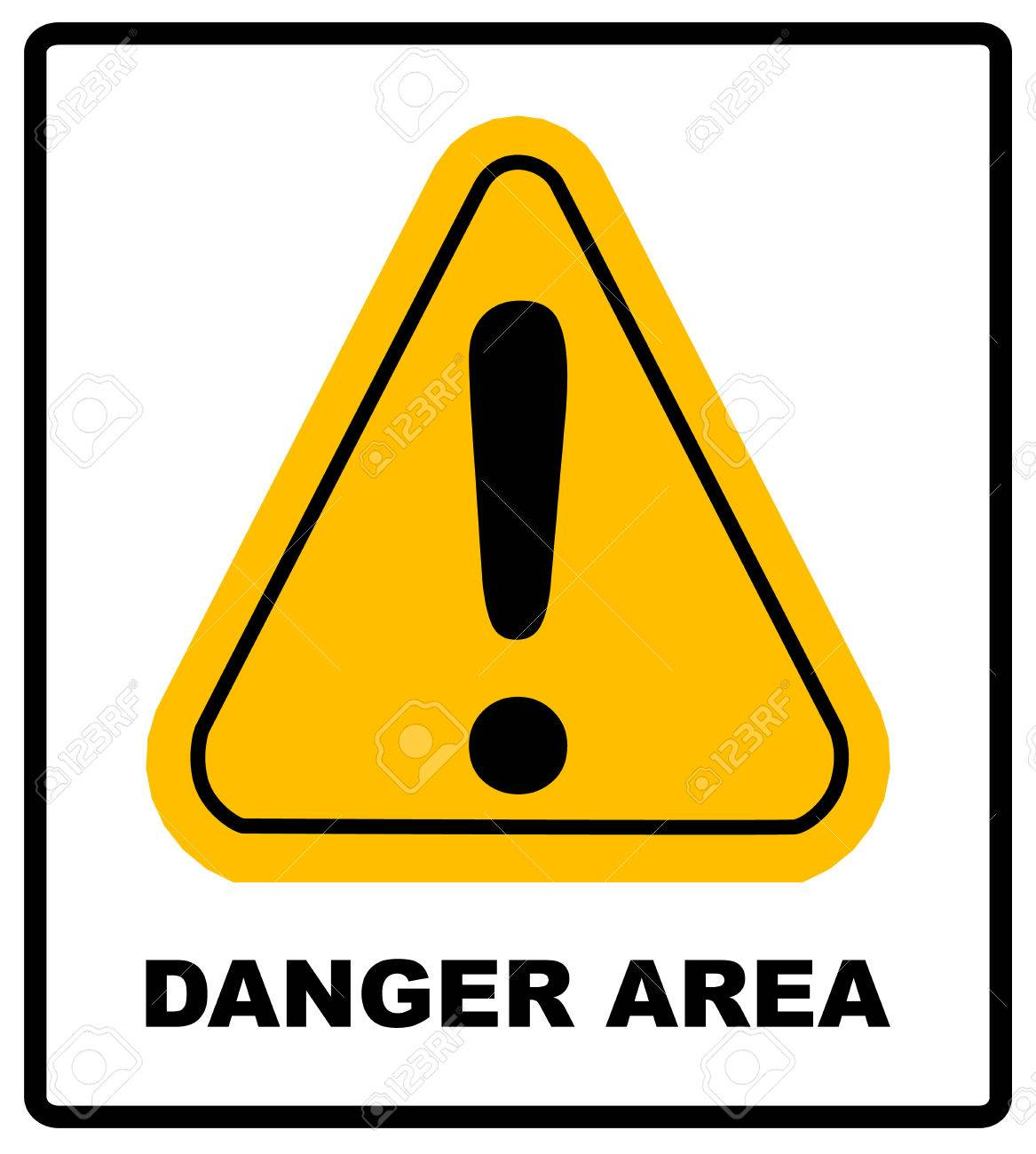 Exclamation Danger Area Sign Vector Wanring Banner In Yellow