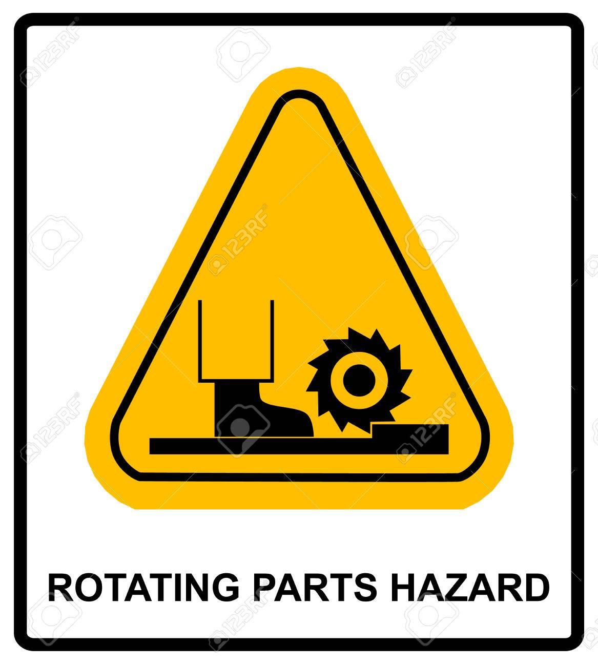 Rotating parts hazard for foot sign vector illustration warning rotating parts hazard for foot sign vector illustration warning banner with symbol in yellow biocorpaavc Gallery