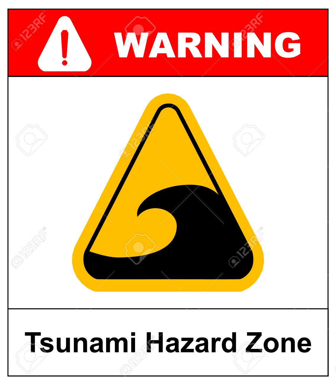 Tsunami hazard zone sign  In case of earthouake go to high ground