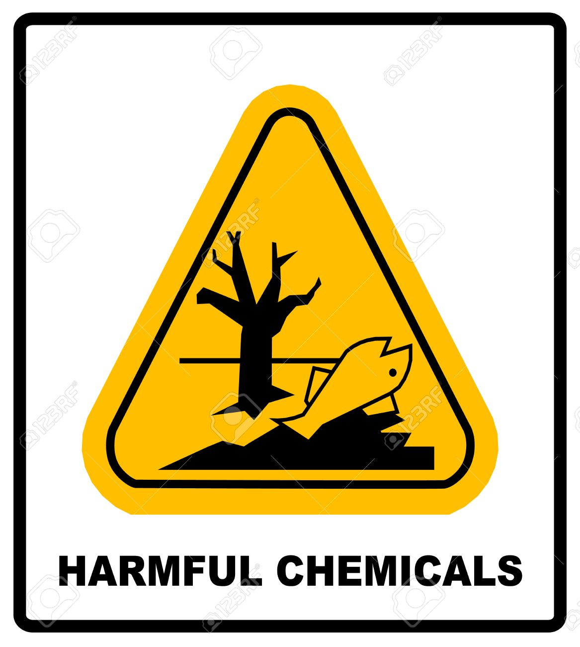 Ghs Hazard Pictogram In Yellow Triangle Harmful Chemicals Keep