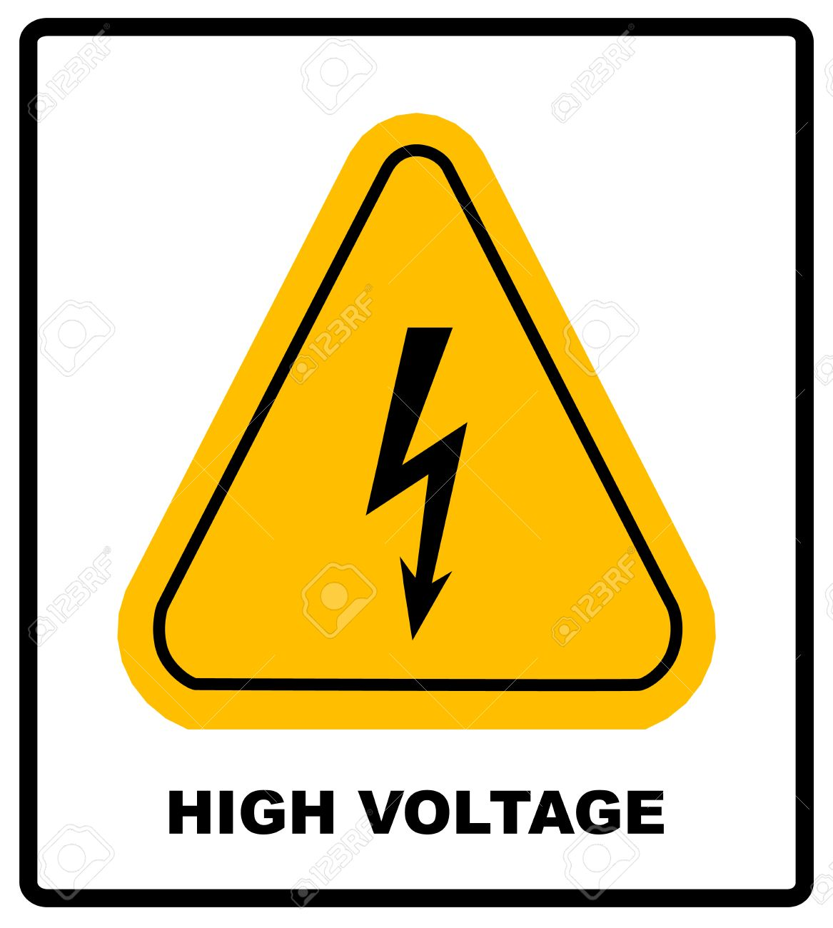 High Voltage Sign Danger Banner With Text And Symbol Black