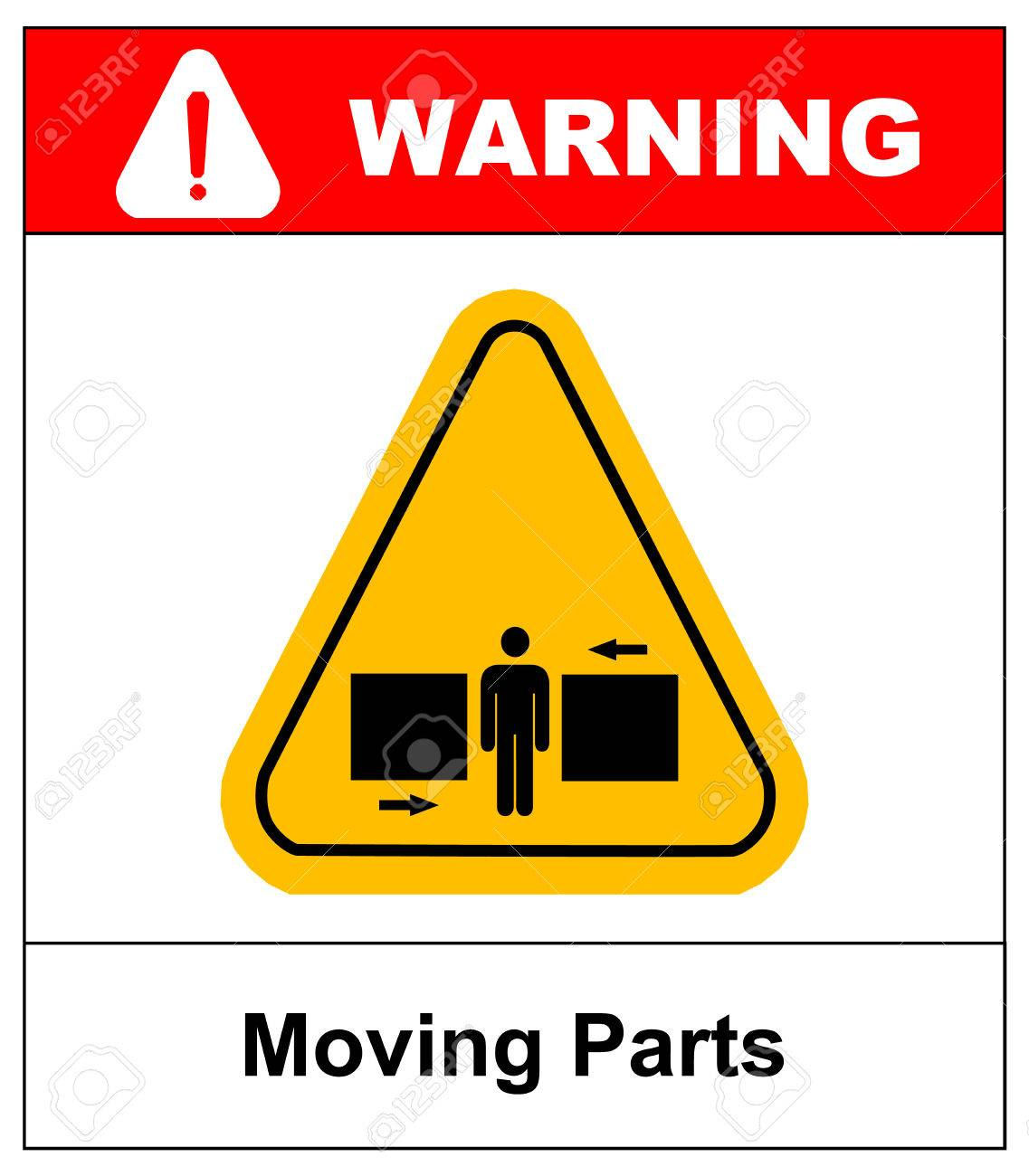 set of danger moving parts signs in yellow triangle with man