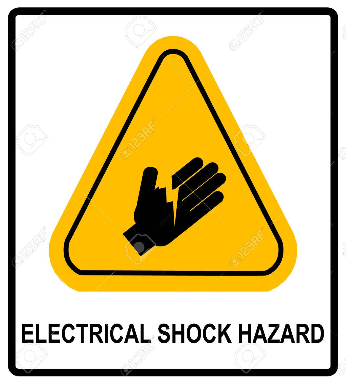 Electrical shock hazard symbol vector illustration with warning electrical shock hazard symbol vector illustration with warning sign in yellow triangle isolated on white biocorpaavc Image collections
