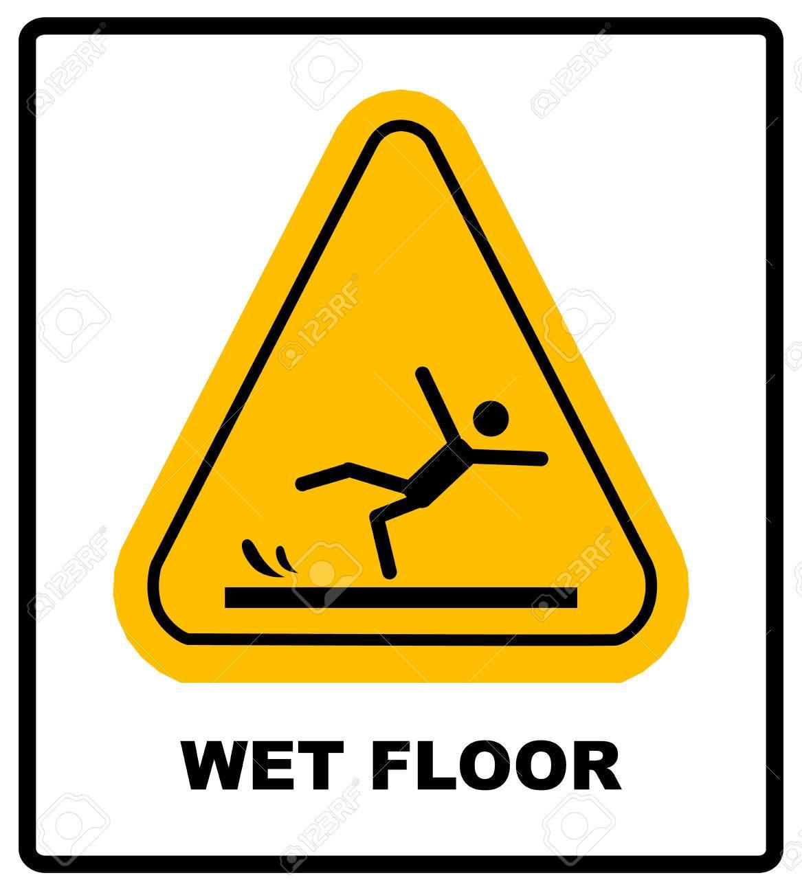 archivio fotografico attenzione pavimento bagnato vector warning label malato per lufficio e centri pubblici simbolo di attenzione giallo isolato su