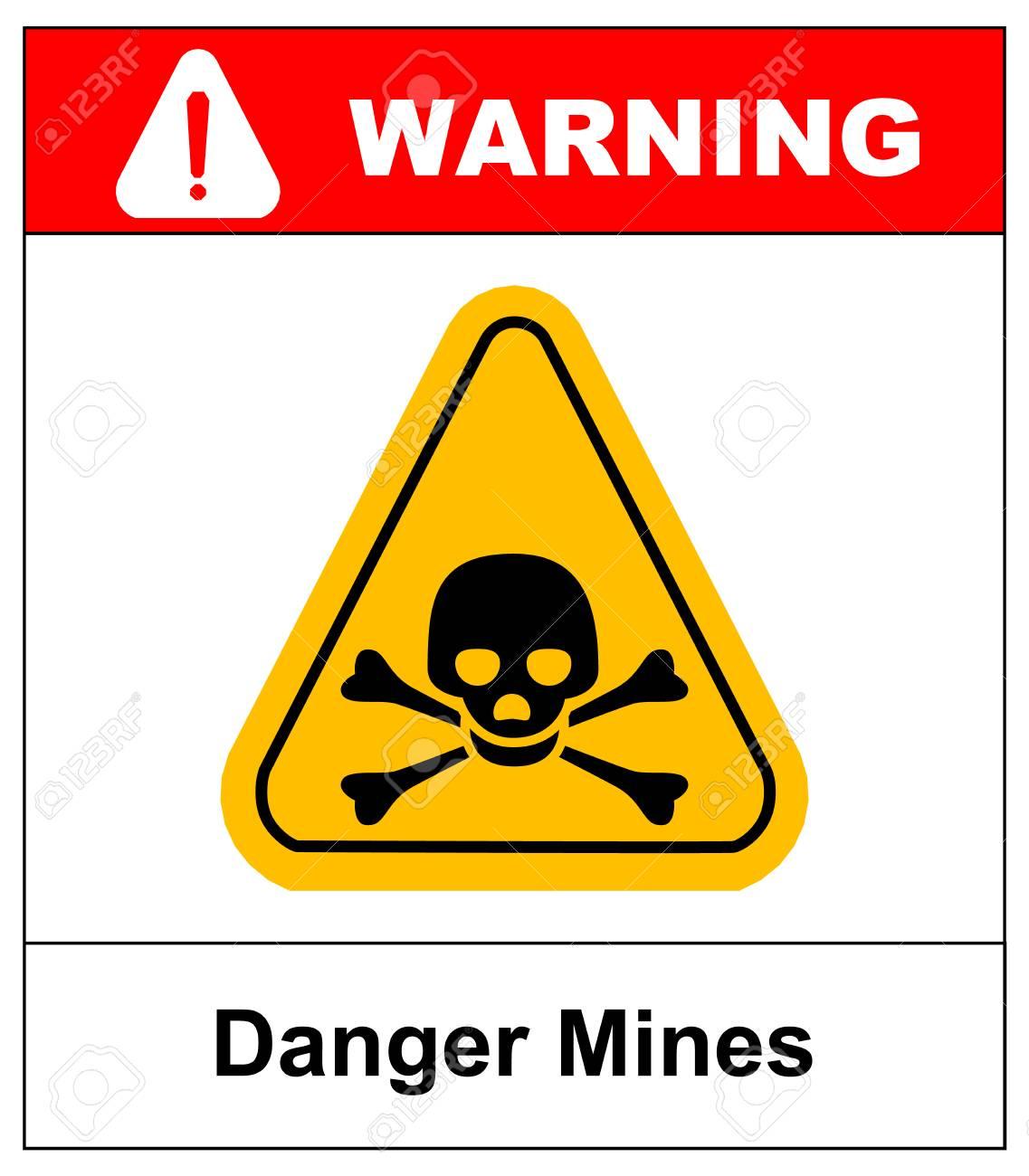 Vector Skull Danger Sign Danger Mines Hazard Vector Sticker With