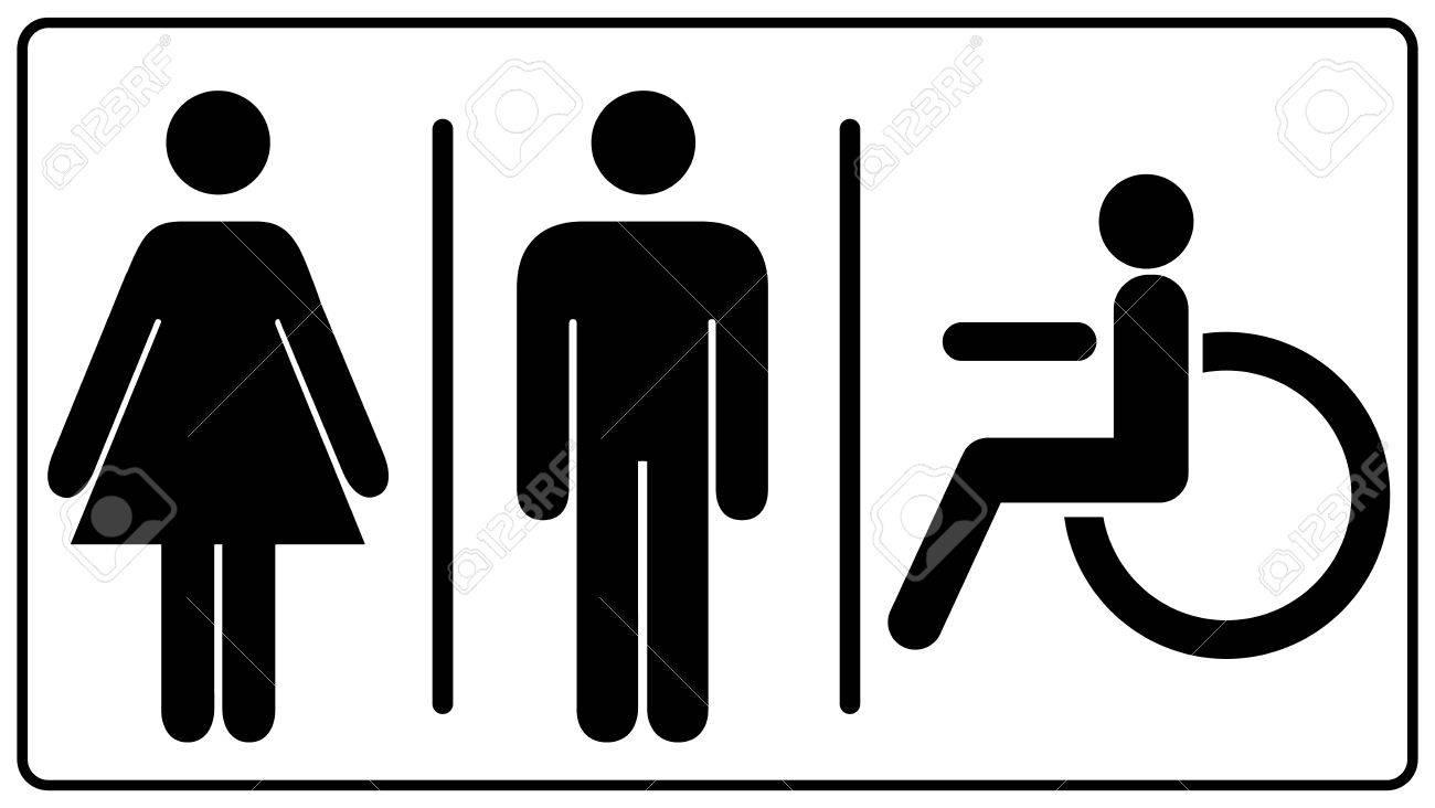 Illustration vectorielle des hommes et des femmes handicapées signe des toilettes toilettes imprimable, signes de toilette, icône non valide.