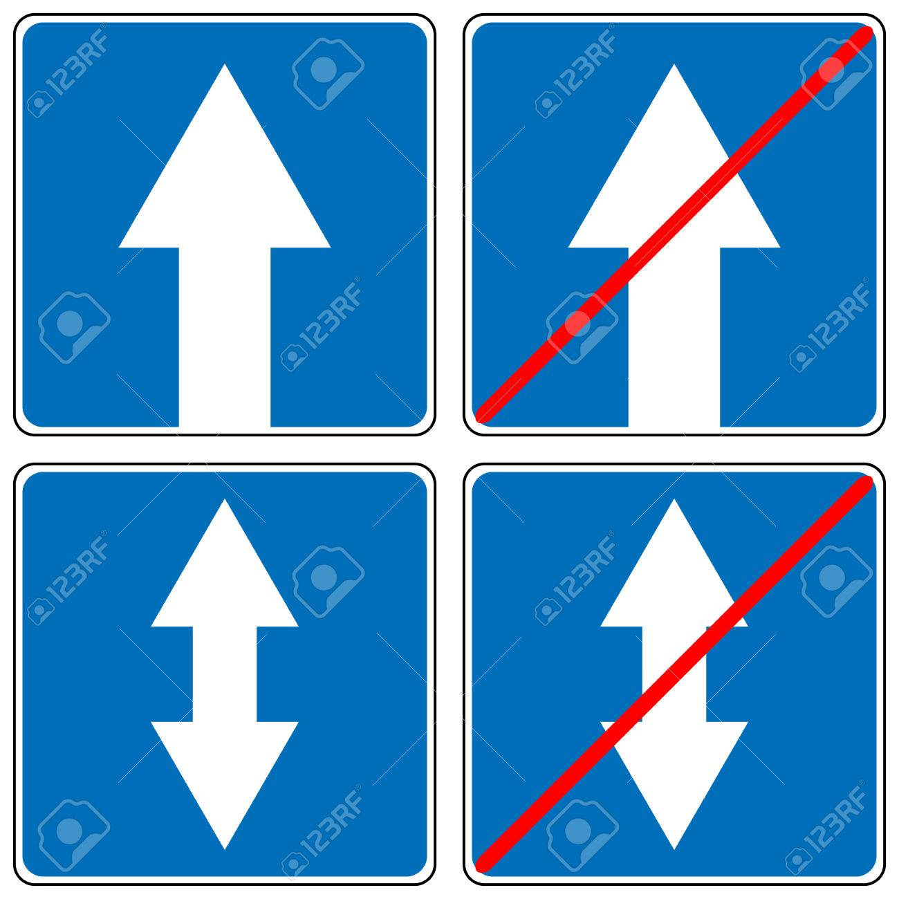 Ahead Only One Way Traffic Sign Drive Straight Arrow Traffic