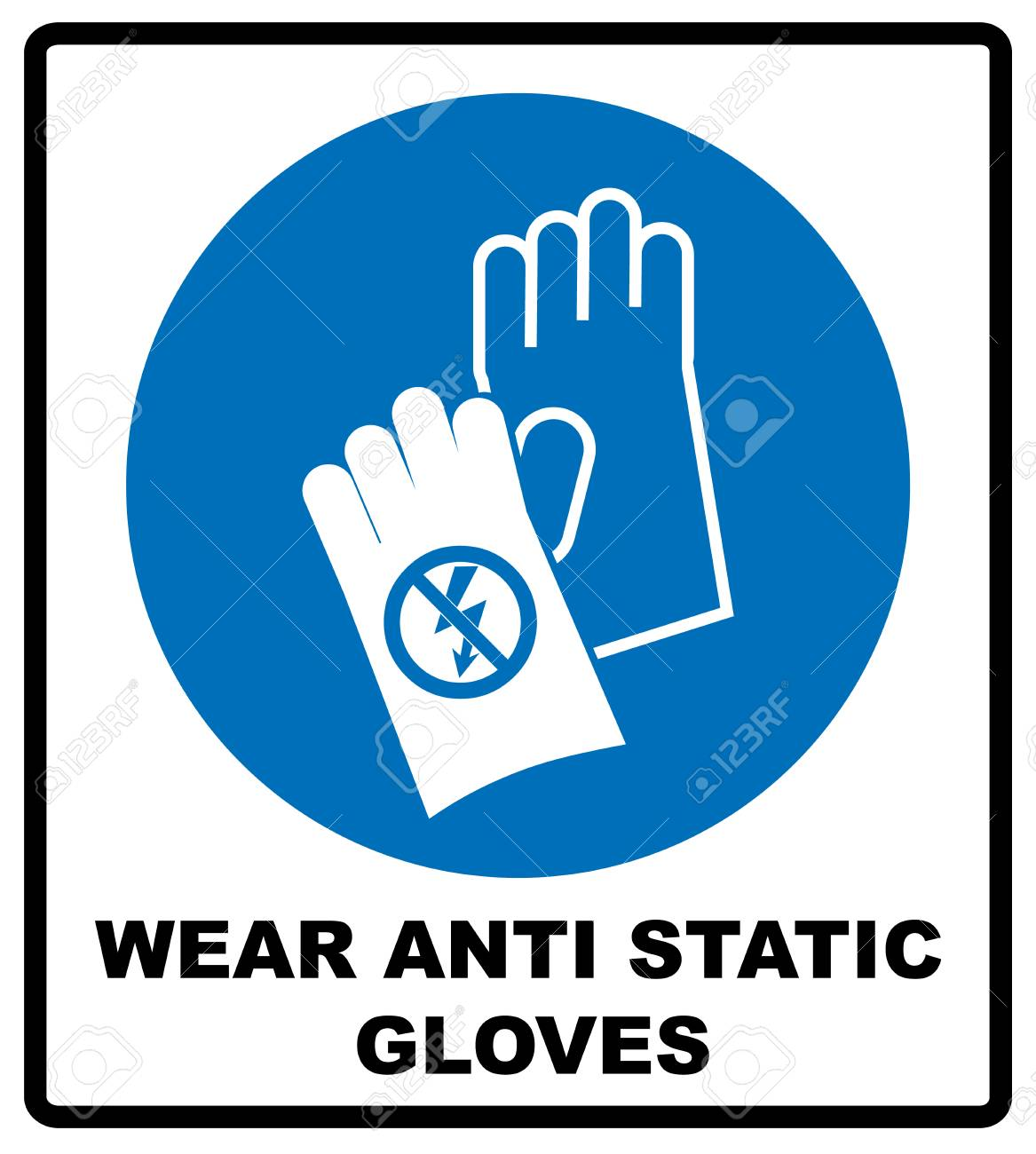 Wear Anti Static Gloves Symbol In Blue Circle Safety Sign Hand