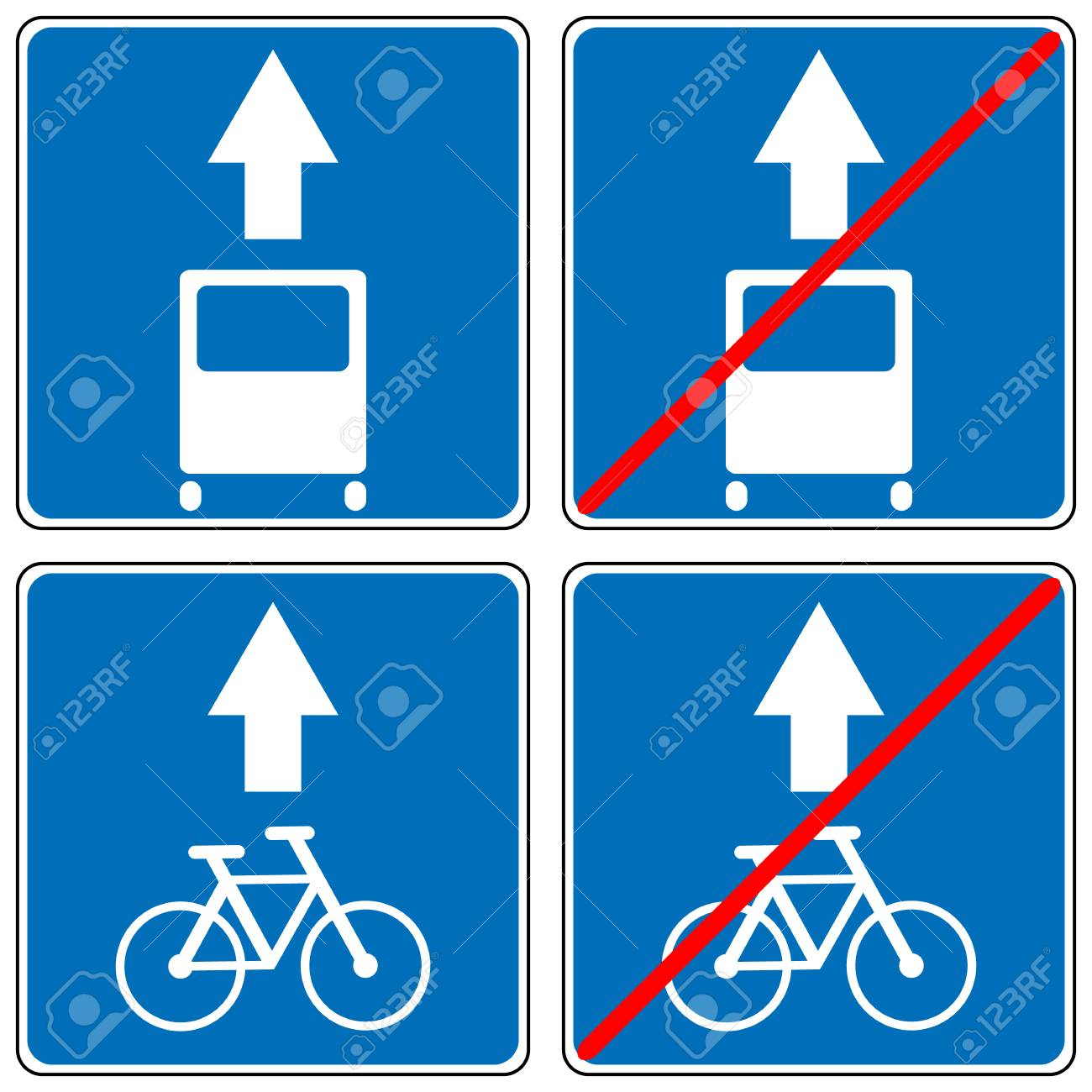 Ahead Only For Bus And Bycicles One Way Traffic Sign Drive