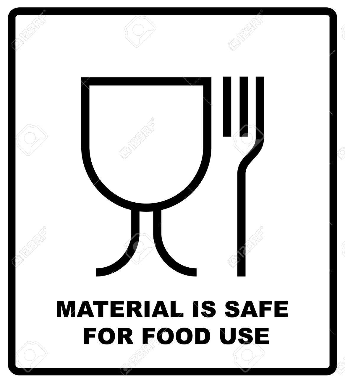 Material Is Safe For Food Use Icon Fork And Glass Simple Black Sign