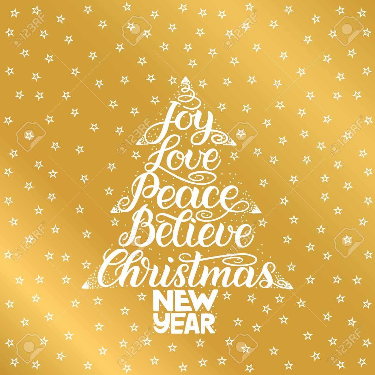 Joy, Love, Peace, Believe, Christmas, New Year. Handwriting ...