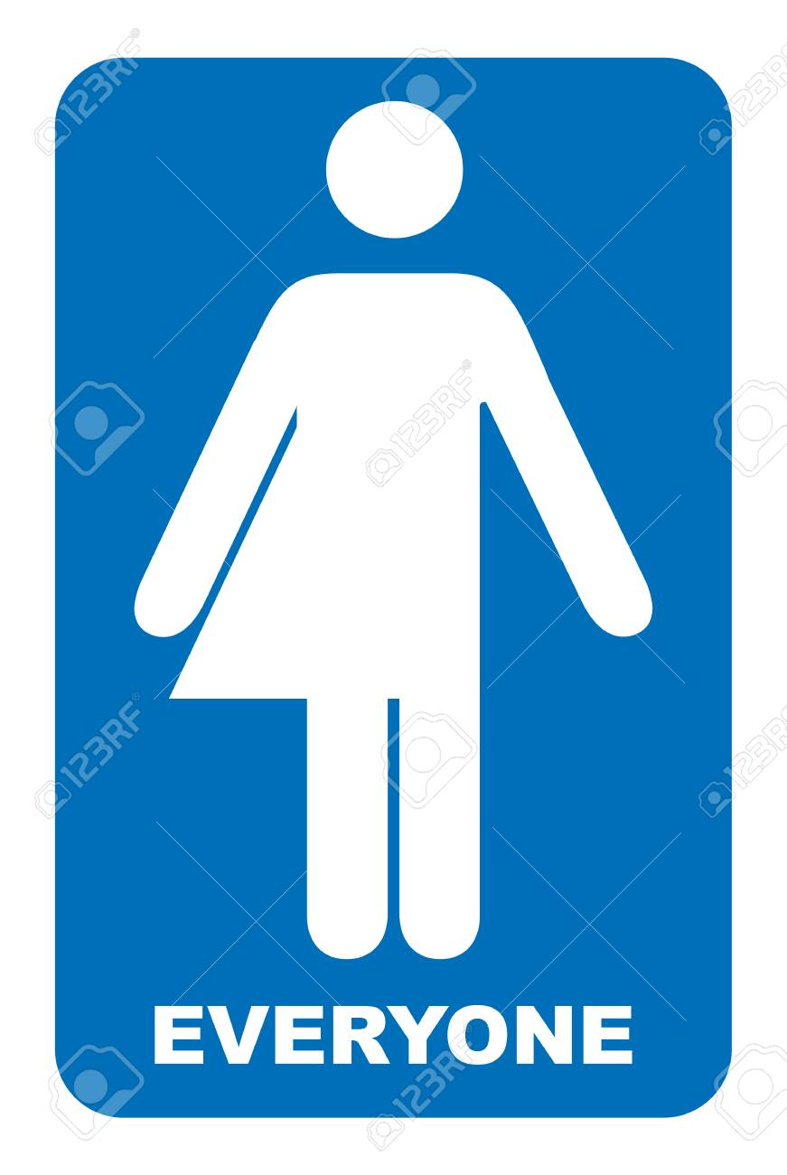 Gender neutral sign. Transgender restroom sign. Blue symbol isolated on white. Mandatory banner. Toilet for everyone. - 91950725