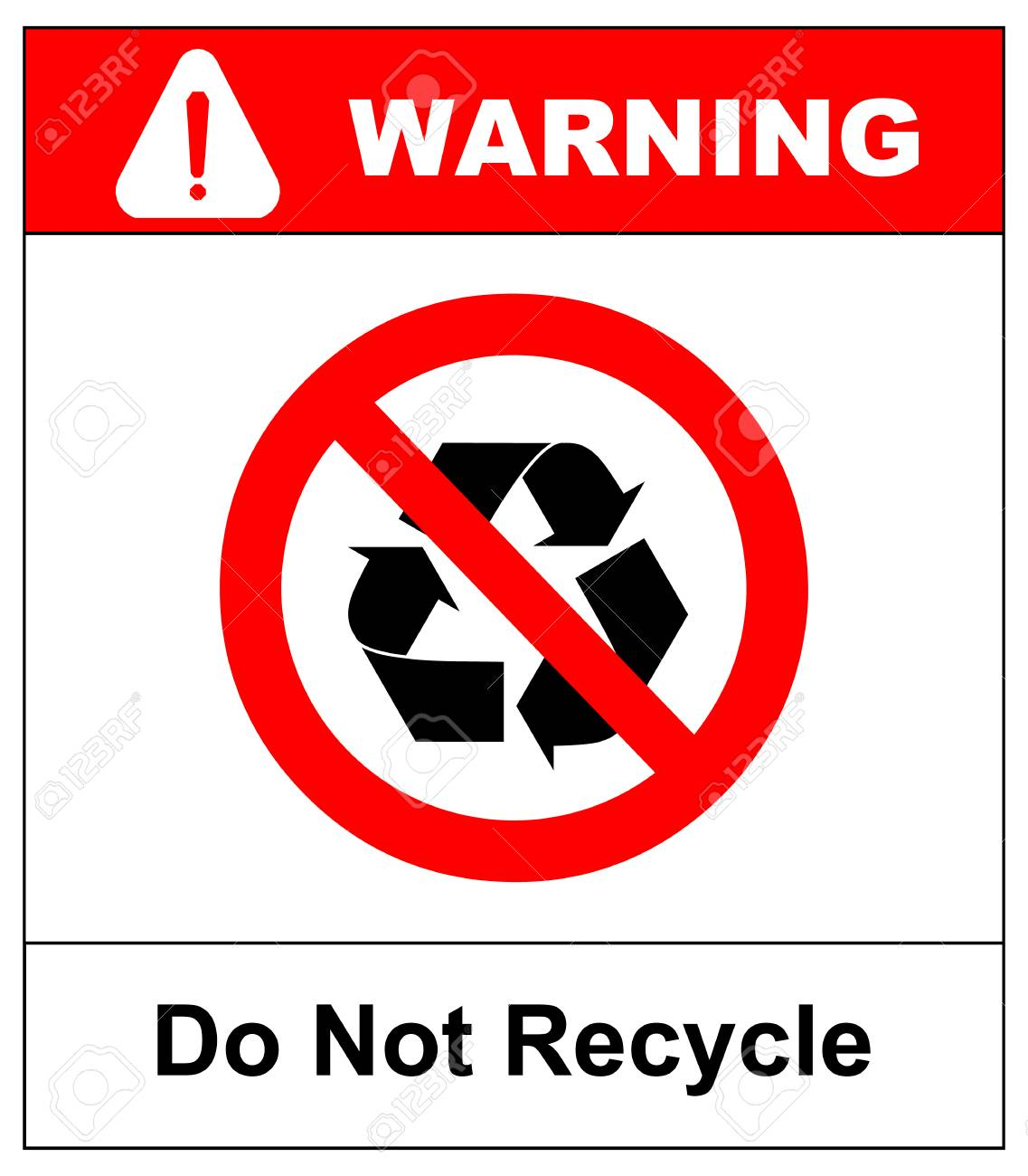 Do Not Recycle Symbol No Recycle Label Recycle Prohibition
