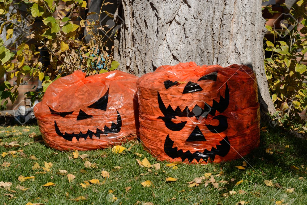 Hallo Halloween Decoraties : Jack o lantern halloween decoration leaf bags full of leaves