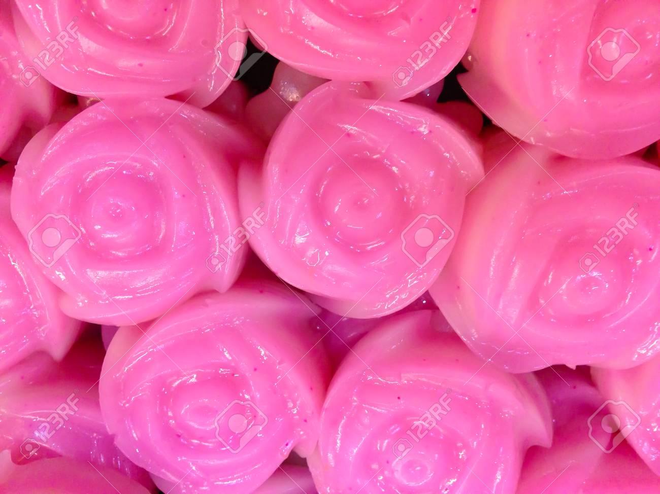 Bolo Doce Da Camada Tailandesa Kanom Chan Padrão De Textura Bonita Tailandesa Tradicional Sobremesa Em Forma De Flor Rosa Brilhante E Colorida Rosa