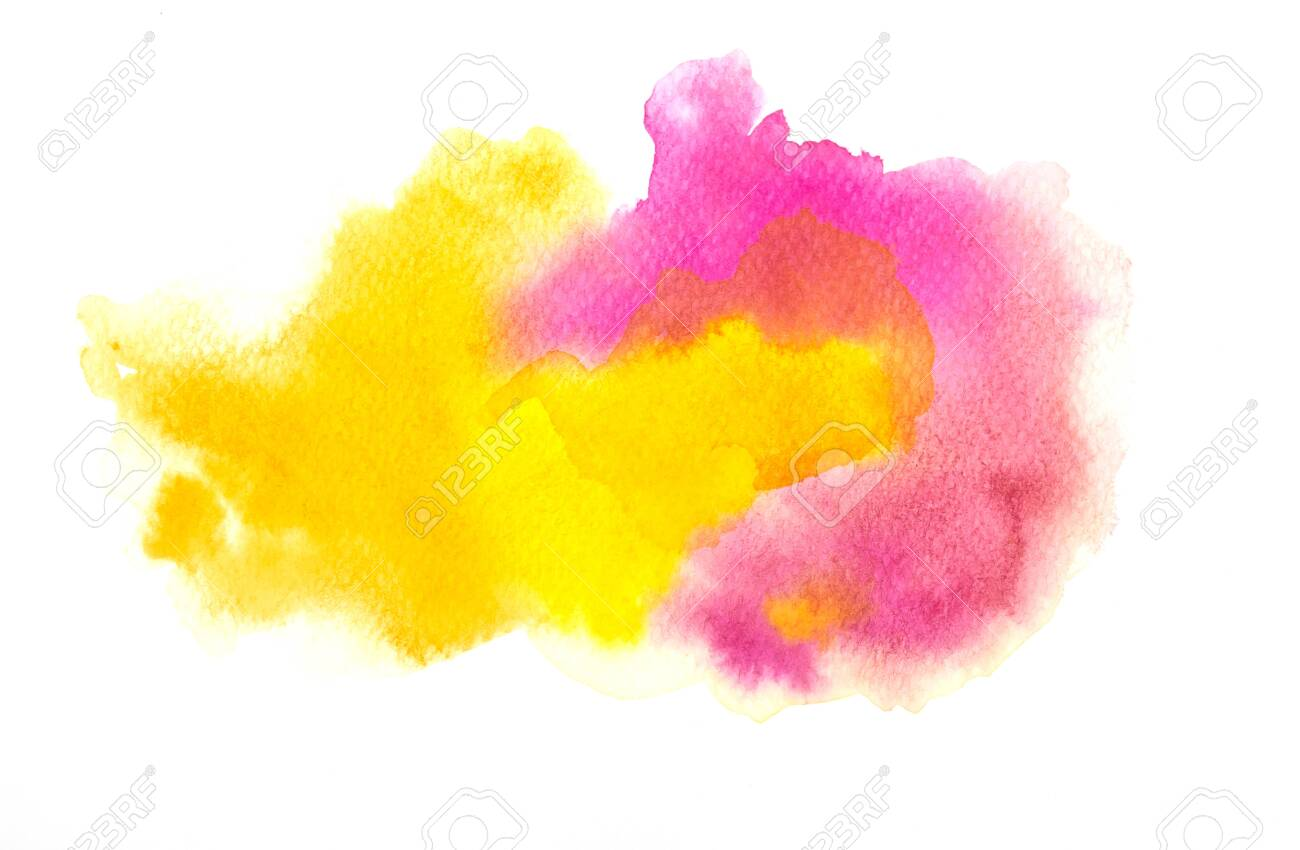 Colorful watercolor texture background. Pink yellow color paint stain splash water on white paper, hand drawn, abstract illustration graphic art design - 151326042