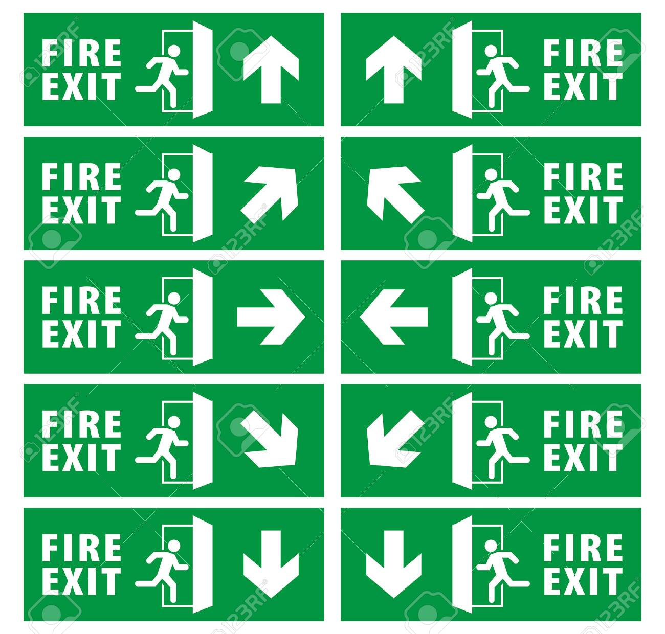 emergency fire exit sign set. running man icon to door. green color. arrow vector. warning sign plate - 128248134