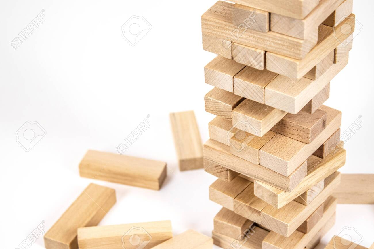 Wood Blocks Tower Game Planning Strategy And Risk For Business