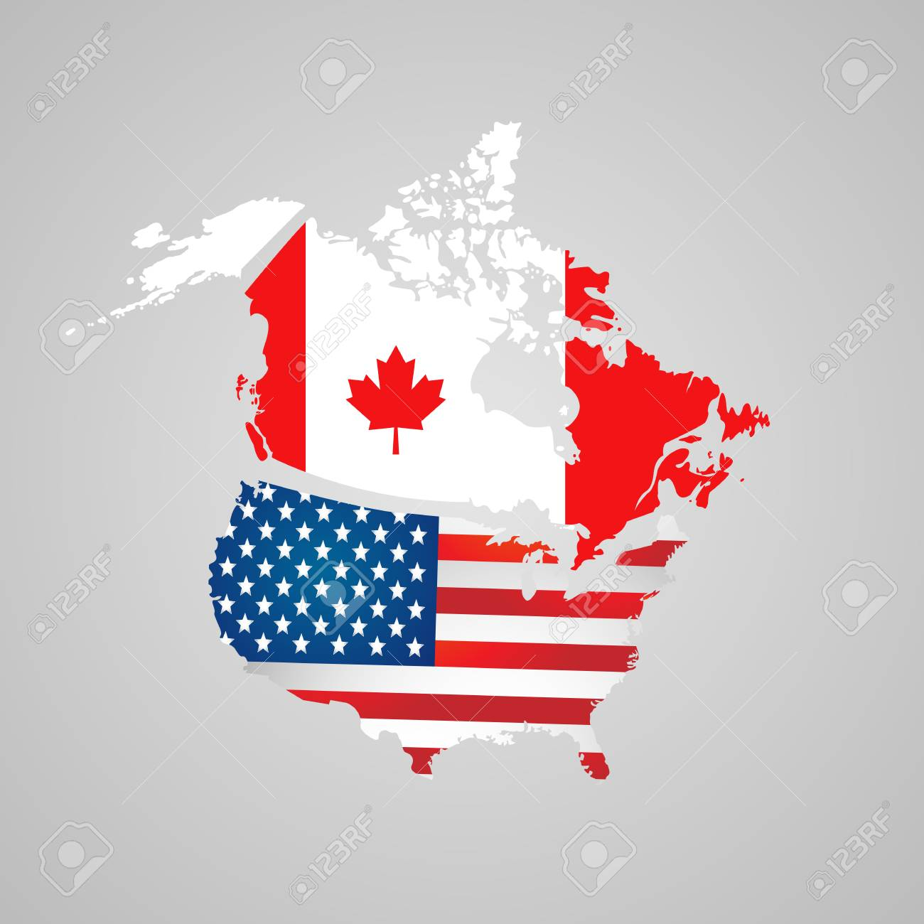 Canada, USA Map, Flags. North American Country Set With Map Pointers ...