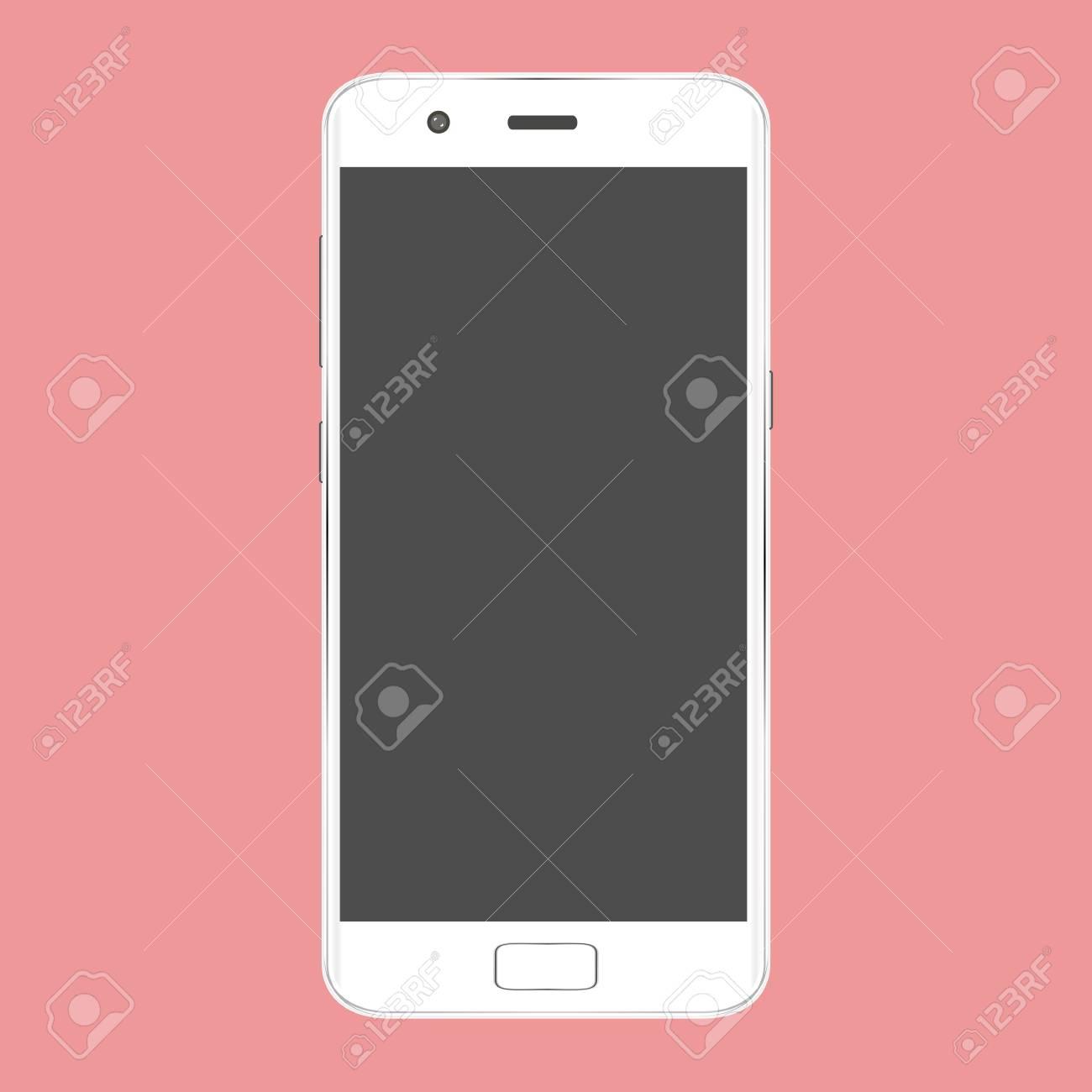 Vettoriale Telefono Cellulare Mobile Realistico Con Schermo Vuoto