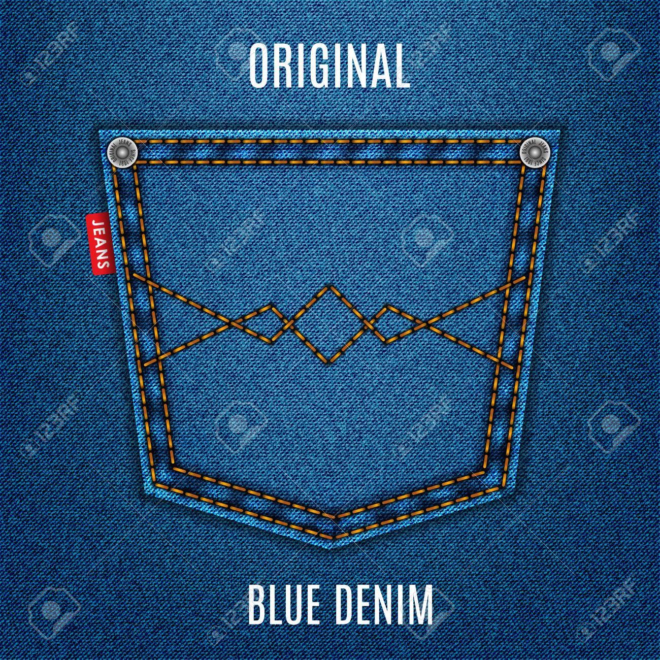 54c4b8498 Blue jeans textura de la tela con el fondo de mezclilla bolsillo.  ilustración stock vectorial