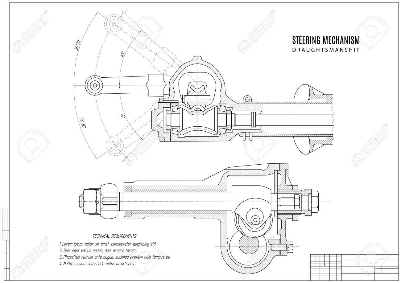 Mecanismo De Dirección Dibujo Técnico El Proyecto De Construcción Con Estructura Horizontal En El Fondo Blanco Ilustración Común Del Vector
