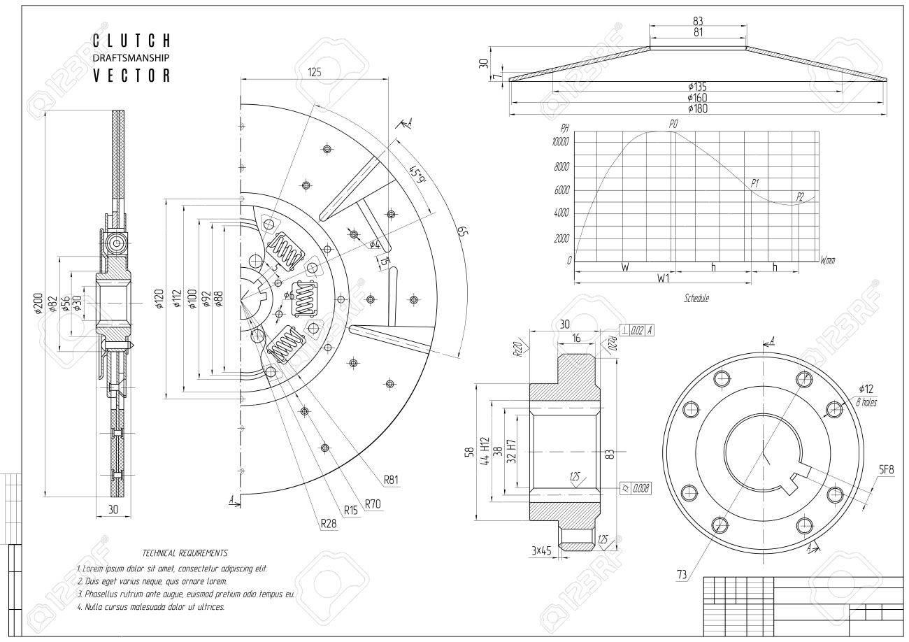 Dibujo Técnico El Embrague El Proyecto De Construcción Con Estructura Horizontal En El Fondo Blanco Ilustración Común Del Vector