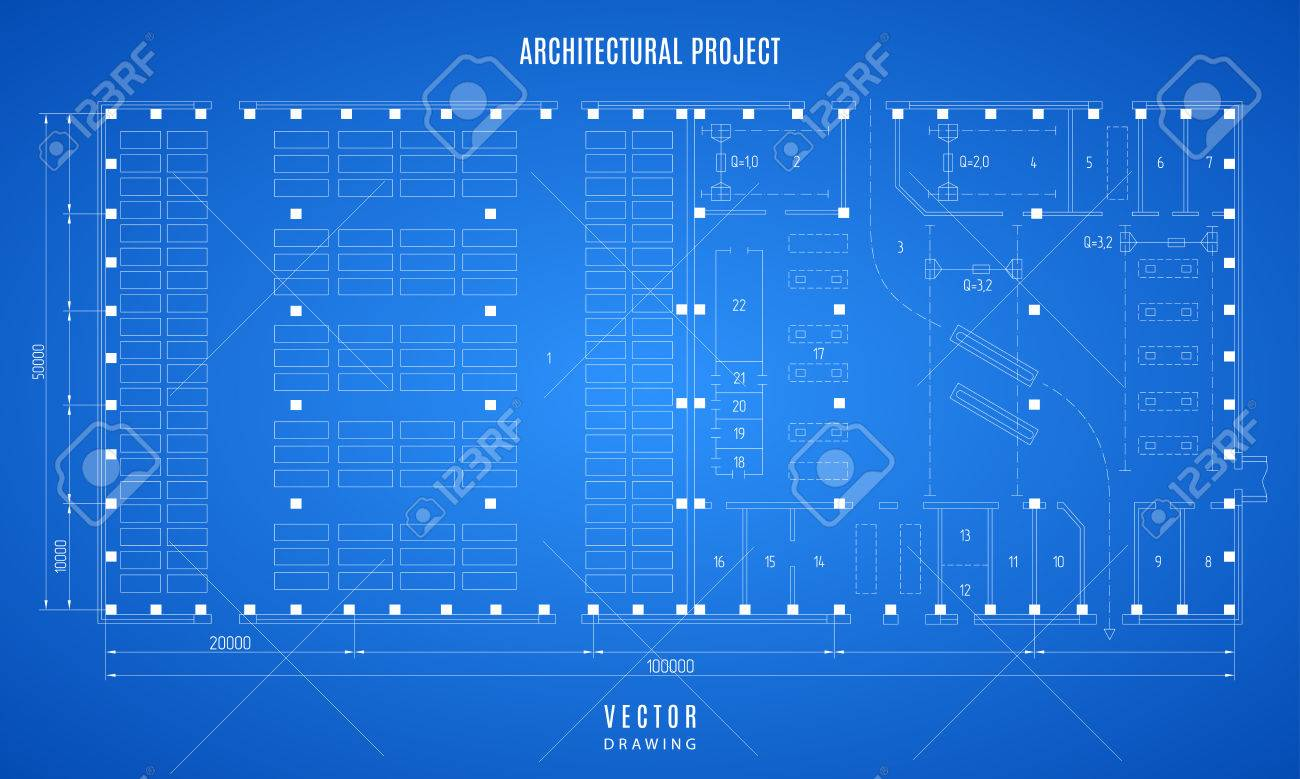 Architectural blueprint technical drawing construction plan architectural blueprint technical drawing construction plan or project on the blue background stock malvernweather Choice Image