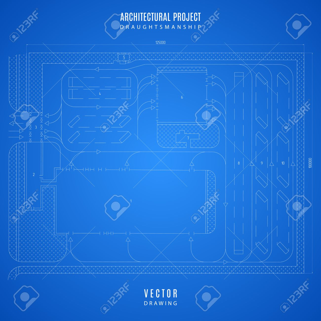 Architectural blueprint technical drawing construction plan architectural blueprint technical drawing construction plan or project on the blue background stock malvernweather Images