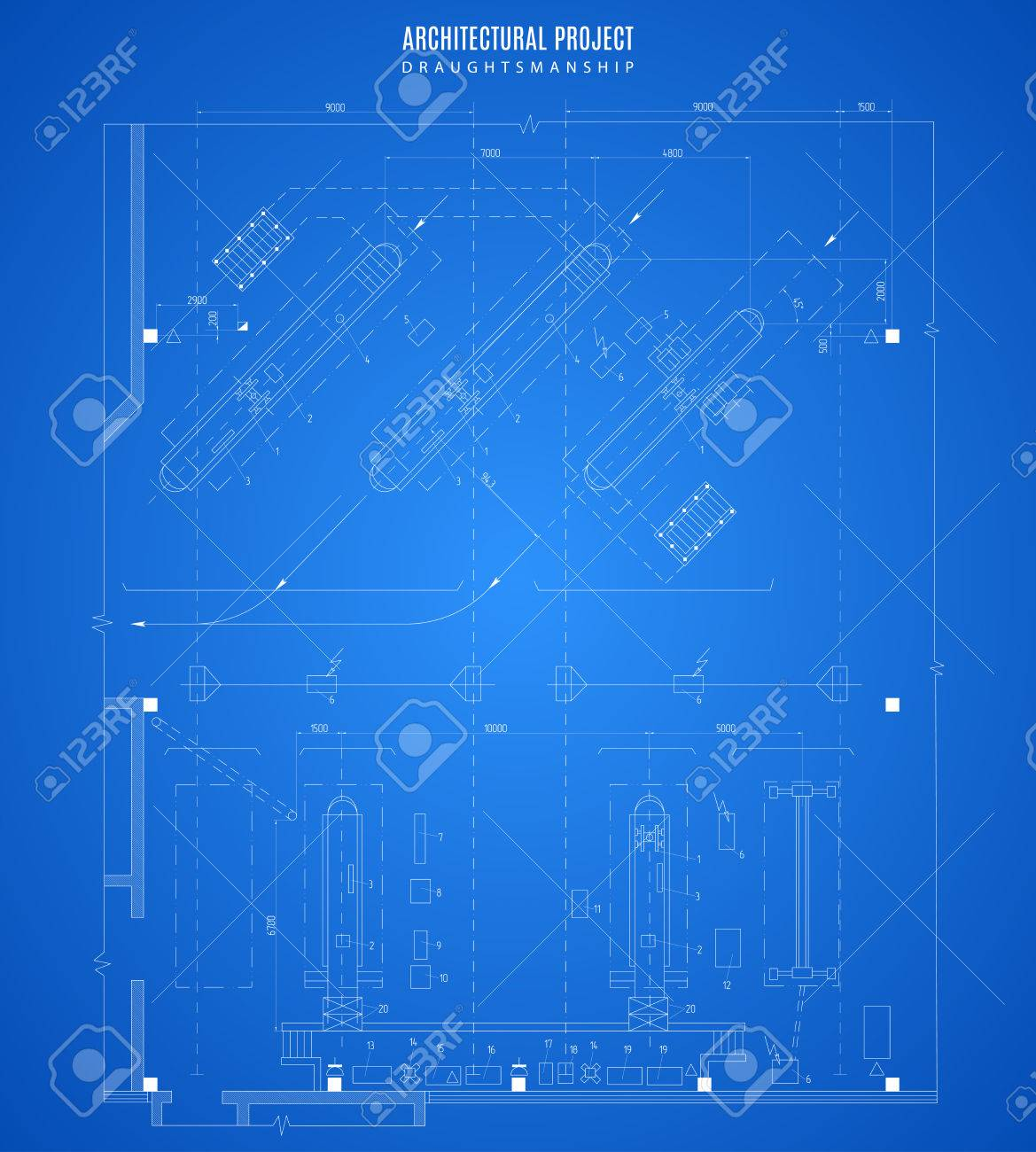 Architectural blueprint technical drawing construction plan architectural blueprint technical drawing construction plan or project on the blue background stock malvernweather Image collections